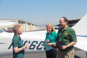 Martha KIng, Mary Schu and John King on set during the shooting of the newly released Private Pilot Practical Test (Oral Exam & Flight Test) course.